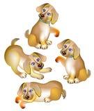 Ilustracja cztery szczeniaków śmieszny bawić się Obrazy Royalty Free