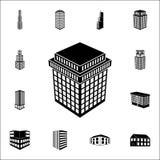 ilustracja 3d budynku ikona 3d budynku ikon ogólnoludzki ustawiający dla sieci i wiszącej ozdoby Ilustracji