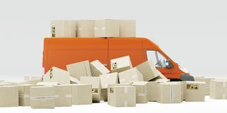 ilustracja 3 d Niedokładny pakunku obchodzić się, dostawa i Rozsypisko pudełka i czerwony samochód dostawczy Biały tło ilustracji