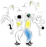 Ilustracja dancingowi młodzi ludzie royalty ilustracja