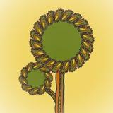 Ilustracja dekoracyjny drzewo z teksta terenem ilustracja wektor