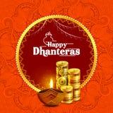 Ilustracja dekorujący Szczęśliwy Dhanteras Diwali wakacje tło royalty ilustracja