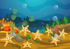 Ilustracja denny podwodny tło royalty ilustracja