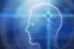 Ilustracja Digital Wytwarzał Ludzką głowę zdjęcie stock