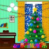 Ilustracja dla bożych narodzeń Choinka, prezenty, płatki śniegu royalty ilustracja