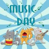 Ilustracja dla dnia muzyka, śmieszni kotów muzycy Zdjęcia Royalty Free