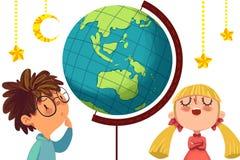 Ilustracja dla dzieci: Duże wyzwanie między dziewczynami i chłopiec Zdjęcia Stock