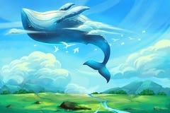 Ilustracja Dla dzieci: Ogromny Dancingowy wieloryb w Jasnym niebieskim niebie royalty ilustracja