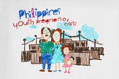 Ilustracja dla Filipińskiego młodości brzemienności kryzysu ilustracji
