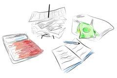 Ilustracja dla koszt kontrola kalkulatora, sterta płatniczy kwit i blok notatka z wodnego koloru skutkiem, ilustracji