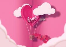Ilustracja dla walentynki ` s dnia Żywy serce kształtujący balony Żyje Koralowej komarnicy wśród pochwały miłości i chmur Pojęcie obraz stock