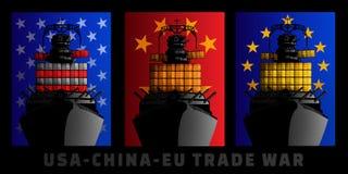 Ilustracja dla wojny handlowa między Stany Zjednoczone, Chiny i Europejskim zjednoczeniem, royalty ilustracja