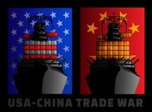 Ilustracja dla wojny handlowa między Stany Zjednoczone i Chiny royalty ilustracja