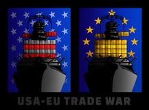 Ilustracja dla wojny handlowa między Stany Zjednoczone i Europejskim zjednoczeniem ilustracja wektor