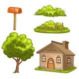 Ilustracja dom, drzewo, krzaki Fotografia Royalty Free