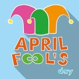 Ilustracja dowcipnisia kapelusz przeciw Kwiecień ptasim błękitny bąbla motylom kalendarzowy dzień błaź się mowy kapeluszowego sło Zdjęcie Stock