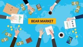 Ilustracja drużynowa dyskusja o niedźwiadkowym rynku w spotkaniu z papierkowymi robotami, pieniądze, monetami, kalkulatorem i fal Zdjęcia Royalty Free