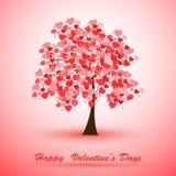 Ilustracja drzewo zakrywający z sercami royalty ilustracja