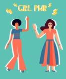 Ilustracja dwa dziewczyny w jaskrawym odziewa royalty ilustracja