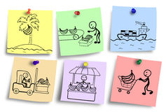 Ilustracja dystrybucja proces na kolorowe notatki Zdjęcia Stock