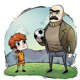 Ilustracja dzieciak z piłka nożna mundurem royalty ilustracja