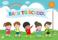 Ilustracja dzieciaki Iść szkoła szkoła szablon z dziećmi, z powrotem, grupa ucznie chodzi dziecka w wieku szkolnym Odizolowywając royalty ilustracja