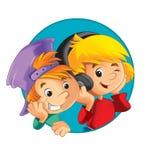 Ilustracja dzieciaki ikony forma elipsa - wystrój dobry dla reklamy lub opakowania - guzik - w okręgu - Obrazy Royalty Free