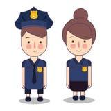 Ilustracja dzieciaki Jest ubranym Milicyjnego policjanta kostium błękitna mody suknia Wektorowa rysunkowa ilustracja royalty ilustracja