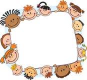 Ilustracja dzieciaki podpatruje za plakatem Zdjęcie Stock