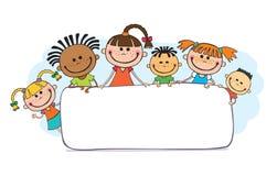 Ilustracja dzieciaki podpatruje za plakatem Zdjęcia Stock
