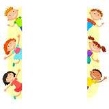 Ilustracja dzieciaki podpatruje za plakatem Fotografia Stock