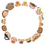 Ilustracja dzieciaki podpatruje za sztandaru wektorem Obrazy Stock