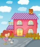 Dziewczyna dom i szczeniak Zdjęcie Royalty Free