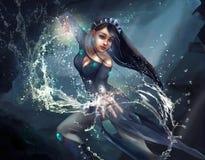 Ilustracja dziewczyna magik wykonuje czary royalty ilustracja
