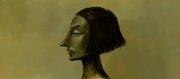 Ilustracja dziewczyna portret w profilu Wizerunek jest gotowy dla druku miejsca i tapety dla wnętrza, emocja royalty ilustracja