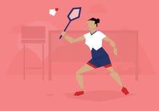 Ilustracja Żeński Badminton gracza konkurowanie W wydarzeniu Fotografia Stock