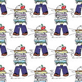 ilustracja edukacyjna Ludzie przy pracą Nauka, sesja, biblioteka, studencki życie bezszwowy wzoru Obrazy Stock