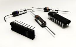 Ilustracja elektryczni składniki na białym tle Obrazy Stock