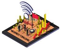 Ilustracja ewidencyjny graficzny online pieniądze pojęcie Obraz Royalty Free