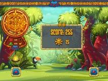 Ilustracja ewidencyjny okno dla gry komputerowej dżungli skarbów Zdjęcia Royalty Free