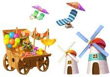 Ilustracja: Fantastyczni Tropikalni Plażowi elementy Ustawiają 4 Sklep spożywczy fura, wierza, Plażowy krzesło etc, royalty ilustracja
