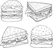 Ilustracja fastfood w kreskówka stylu Hamburgerów i kanapek wektorowa ilustracja dla menu projekta ilustracja wektor