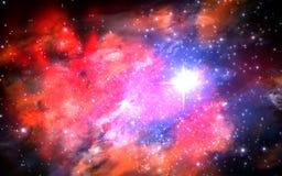 Ilustracja fikcyjny pole, mgławicy, słońce i galaxi, Obraz Royalty Free