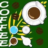 Ilustracja filiżanki mleko i kawa Obrazy Stock