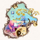 Ilustracja: Filiżanka druku projekt: Mały kota narys Twój karta! Ty chcesz Pisać przyjaciel w cukierki domu, Niegrzeczna kot prze Obrazy Stock