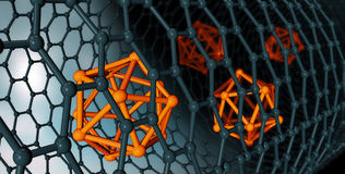 ilustracja Graphene atomowa struktura - nanotechnologiów półdupki Fotografia Stock