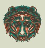 Ilustracja grizzly głowa z wystrzał sztuki stylem obraz stock