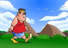 Gruby mężczyzna robi jogging Zdjęcia Royalty Free