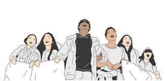 Ilustracja grupa ucznie protestuje z znakami i sztandarami royalty ilustracja