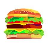 Ilustracja hamburger, wektorowy rysunkowy hamburgeru cheeseburger San royalty ilustracja